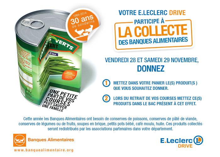 Les 28 et 29 novembre, votre Drive participe à la collecte des Banques Alimentaires, donnez !