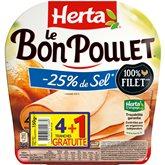 Herta bon poulet sel réduit tranche x4 e 150g