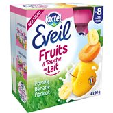 Compotes bébé pomme banane abricot et touché de lait dès 8 mois Eveil