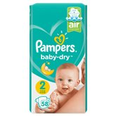 Pampers Couches Pampers - Baby Dry T2 : 4/8kg - x58 changes