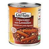 Saucisses lentilles Côté Table